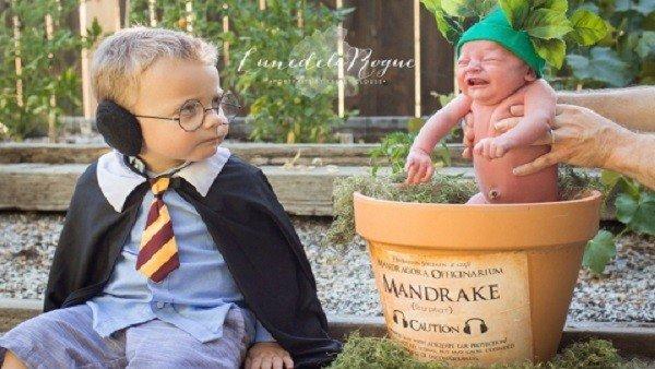 Dedican una sesión de fotos inspirada en Harry Potter a su hijo recién nacido