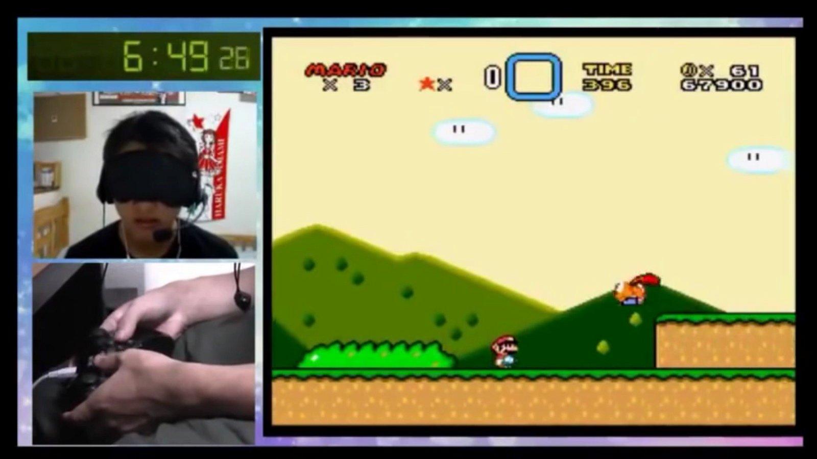 Super Mario World: Un speedrunner logra el récord mundial con los ojos vendados