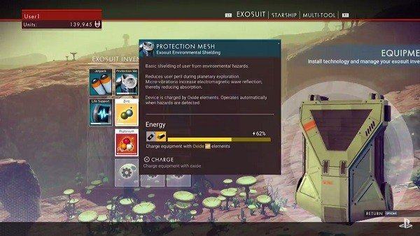 No Man's Sky cuenta con unos menús parecidos a los de Destiny
