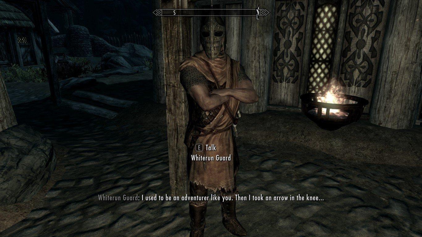 Skyrim: Un jugador se topa con el meme de la flecha en la rodilla y reacciona como cualquiera hubiera hecho