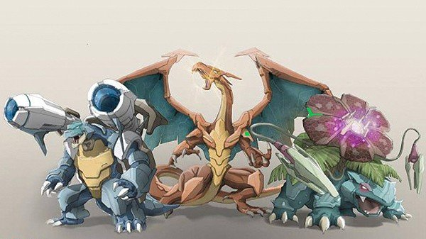 Los Pokémon se transforman en híbridos mecánicos en estos fanarts