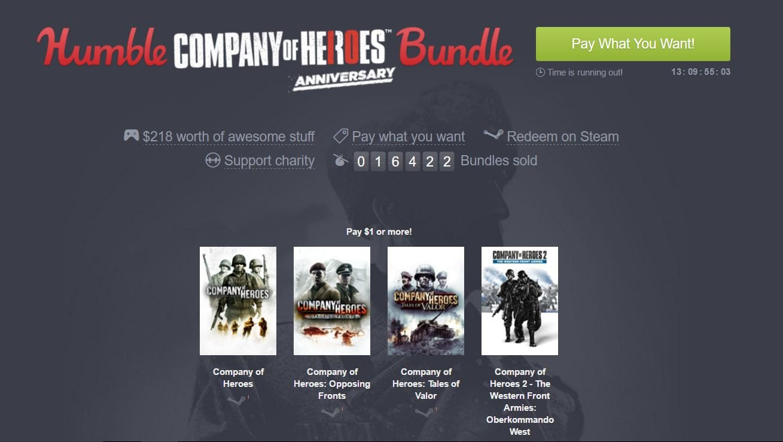 Humble Bundle ofrece una nueva oleada de juegos a precio de saldo protagonizada por Company of Heroes