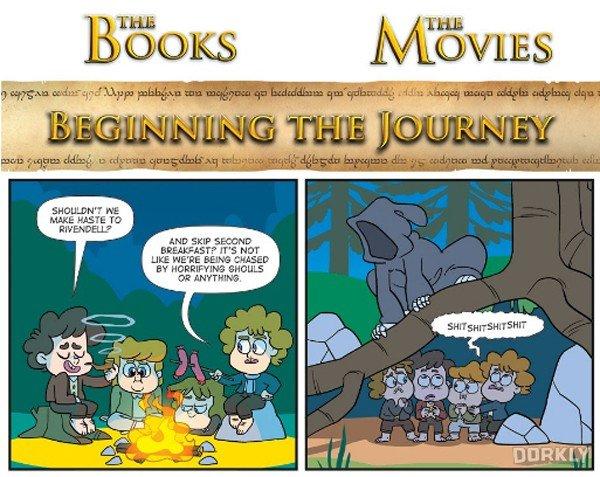 El señor de los Anillos: Una cómica viñeta enfrenta a los libros con las películas