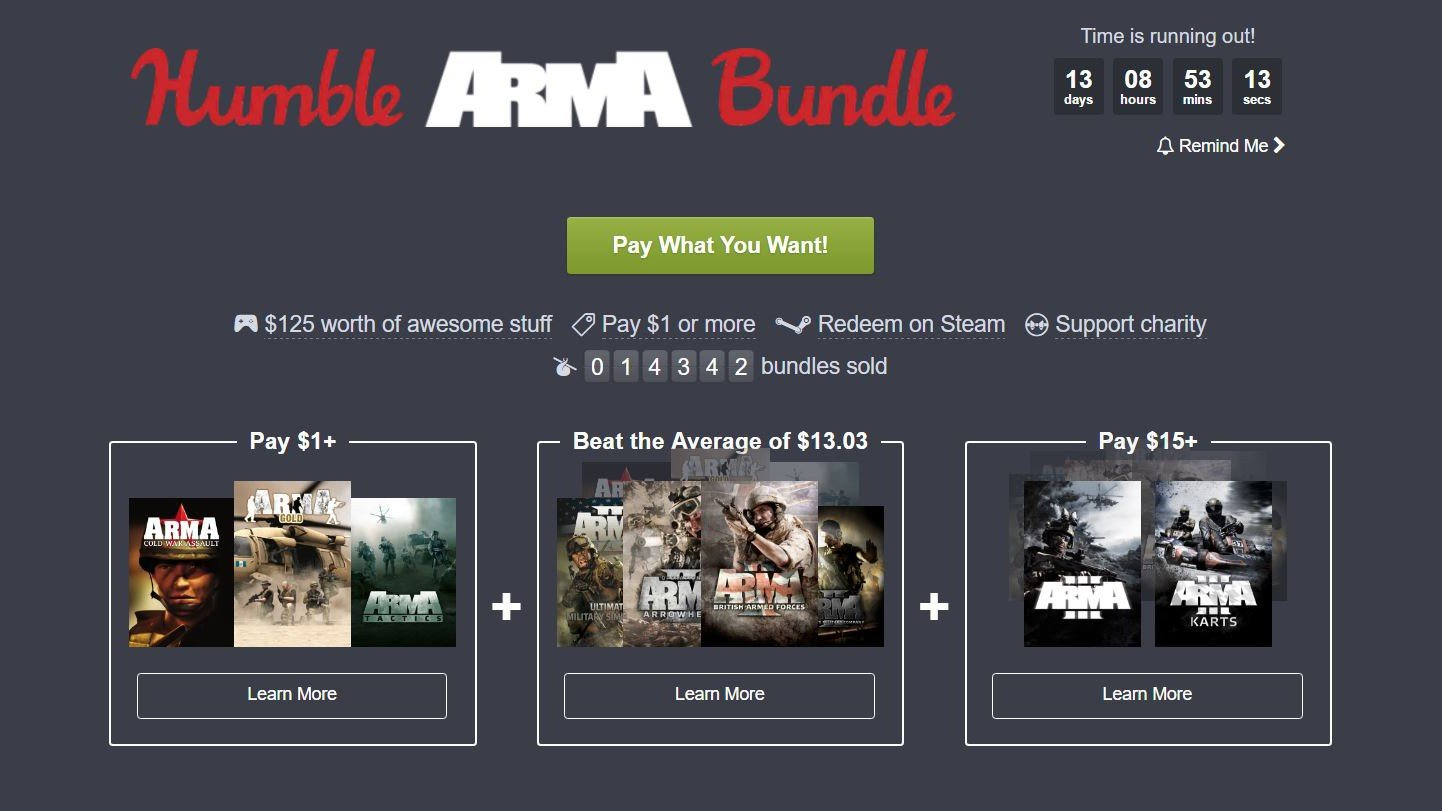 Humble Bundle: Arma protagoniza la nueva oleada de juegos por lo que quieras pagar