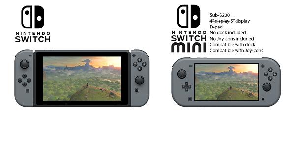Así podría ser el diseño de Nintendo Switch Mini