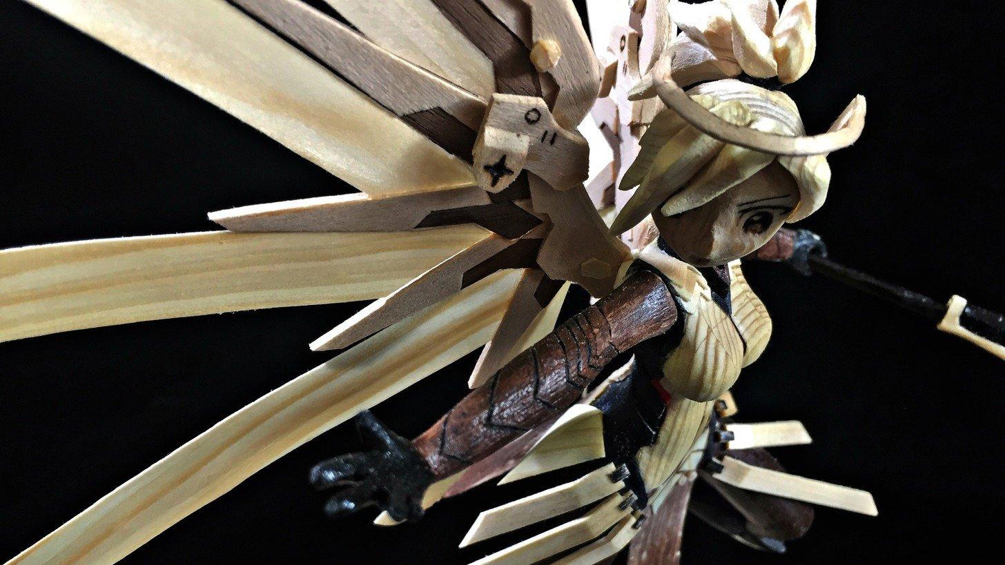 Overwatch: Mercy ya tiene su propia y espectacular figura de madera