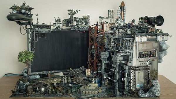 Crean un mundo futurista diminuto dentro de un PC
