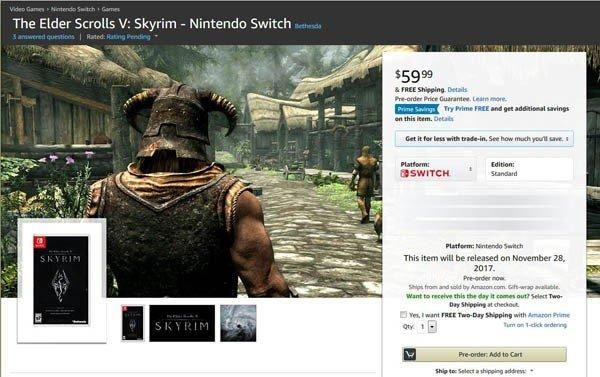 Skyrim podría haber filtrado su fecha de lanzamiento para Nintendo Switch