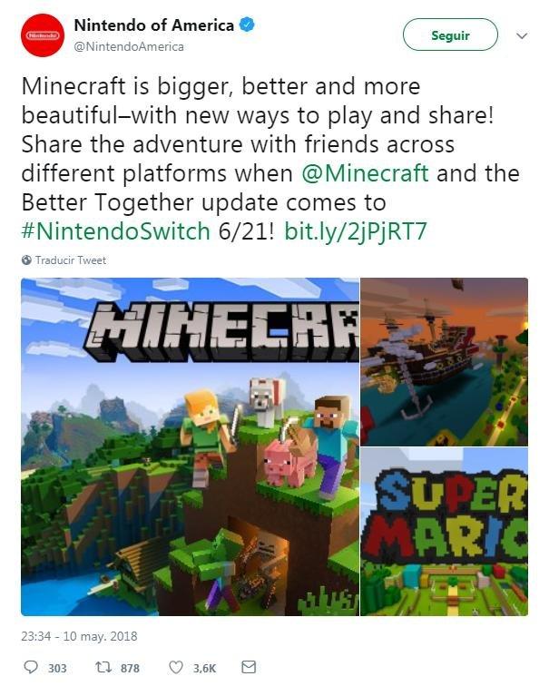 Minecraft Para Nintendo Switch Tendra Juego Cruzado En Junio Alfa