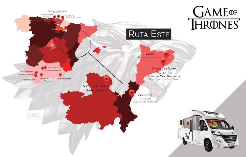 Juego de Tronos: Un mapa de España recoge todas las localizaciones que han aparecido en la serie