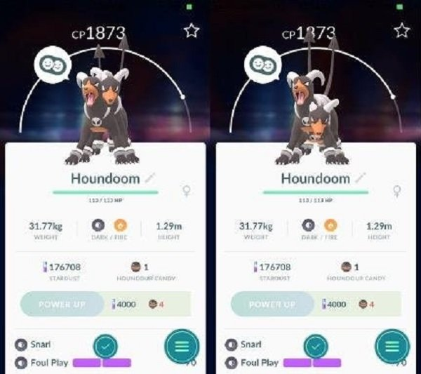 Pokémon GO: Un fallo hace aparecer a Houndoom con dos cabezas